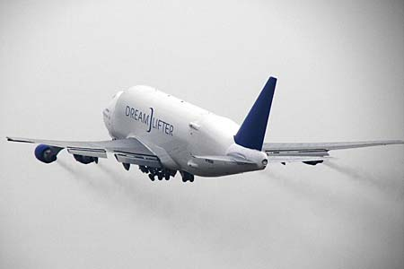 The second Boeing Dreamlifter during first flight in Taipei (Neg#: K63948)